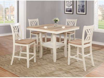 Wells 5 Pc Counter Height Table White