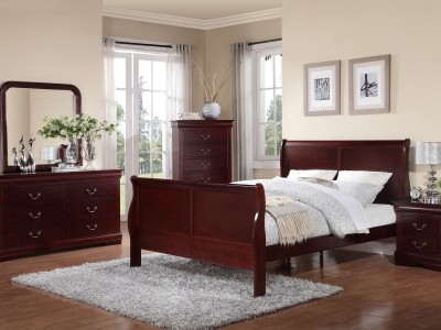 Hamilton - 4PC Cherry Sleigh Bedroom Set