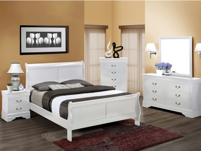 Hamilton - 4PC White Sleigh Bedroom Set