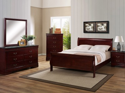 Hamilton - 4PC Cherry Sleigh Bedroom Set w/ Marble