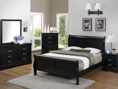 Hamilton - 4PC Black Sleigh Bedroom Set