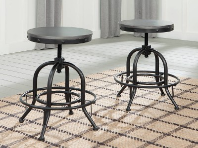 Marriot - Aged Steel - Swivel Stool (2/CN)