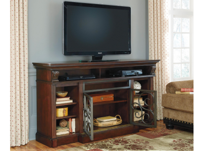 Aylmere Rustic Brown TV Stand with Infrared Fireplace Insert