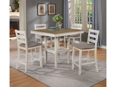 Bambú 5 Pc Counter Height Table White