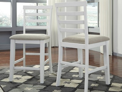 Juliet - White/Light Brown - Upholstered Barstool (2/CN)